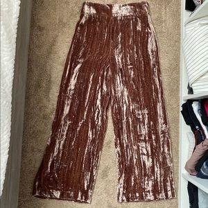 Zara crushed velvet wide leg pants size xs